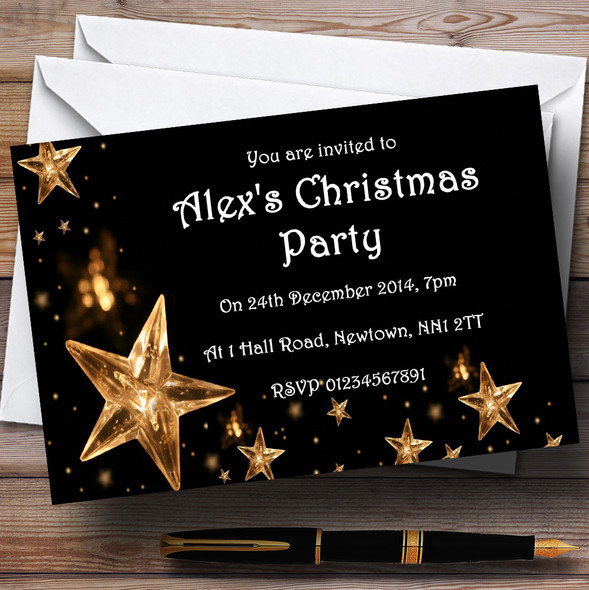 Gold Stars White Personalised Christmas Party Invitations
