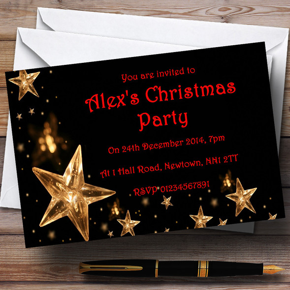 Gold Stars Personalised Christmas Party Invitations