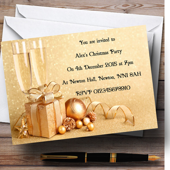 Gold Personalised Christmas Party Invitations