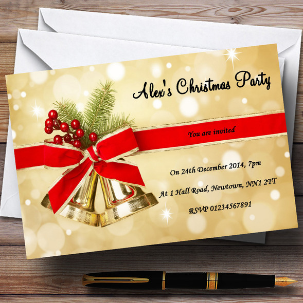 Golden Bells Personalised Christmas Party Invitations