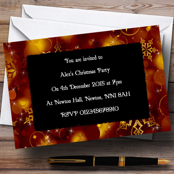 Golden Snowflakes Personalised Christmas Party Invitations - XI19
