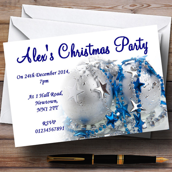 Blue And White Personalised Christmas Party Invitations