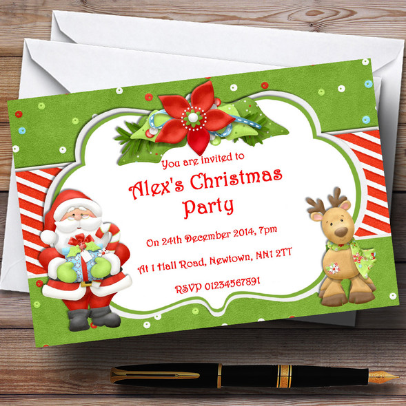 Green Santa And Reindeer Personalised Christmas Party Invitations