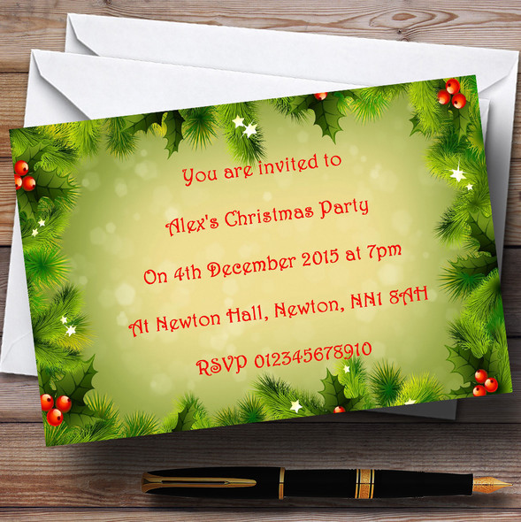 Holly And Berries Personalised Christmas Party Invitations