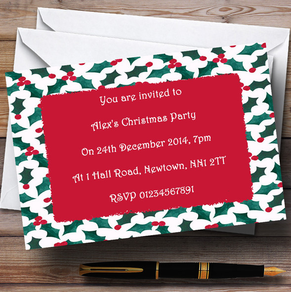 Holly Personalised Christmas Party Invitations