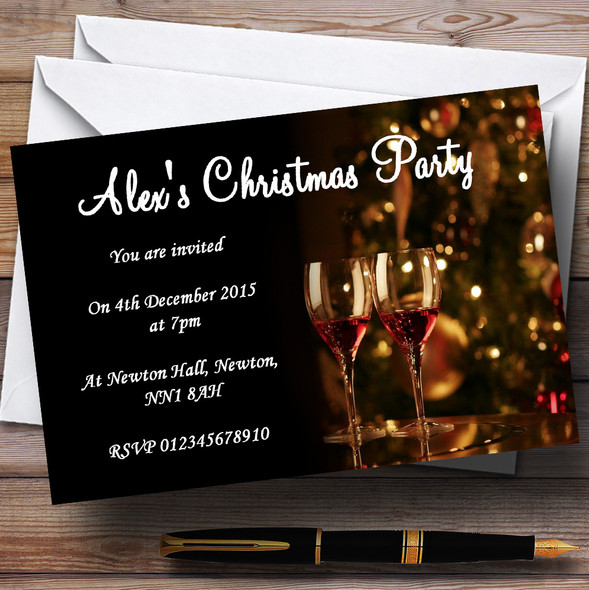 Mulled Wine Personalised Christmas Party Invitations