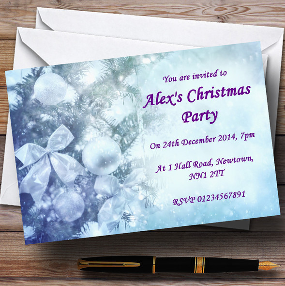 Pale Blue Personalised Christmas Party Invitations