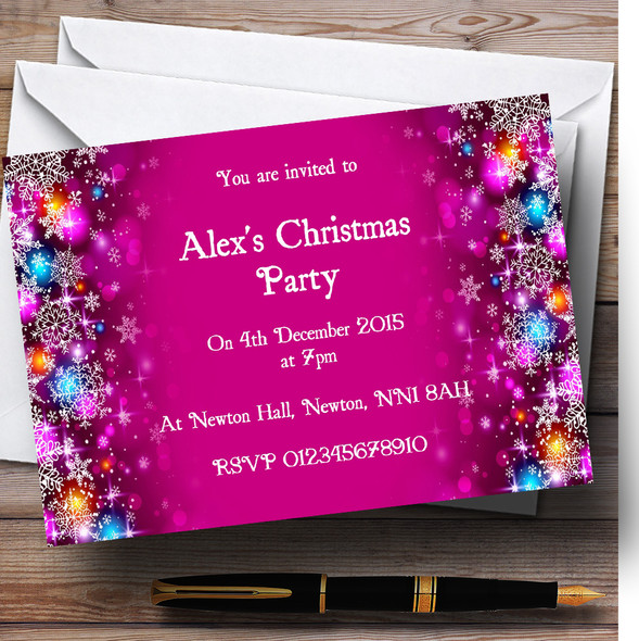 Pink Colourful Baubles Personalised Christmas Party Invitations