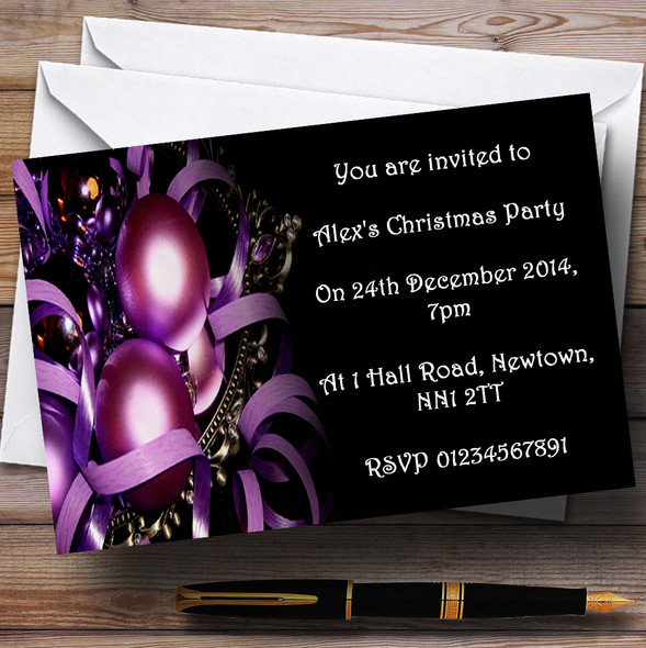 Purple Baubles Personalised Christmas Party Invitations