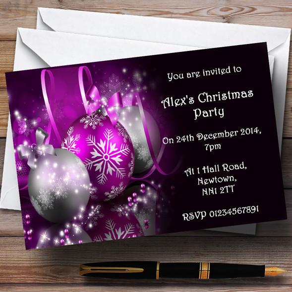 Purple Personalised Christmas Party Invitations