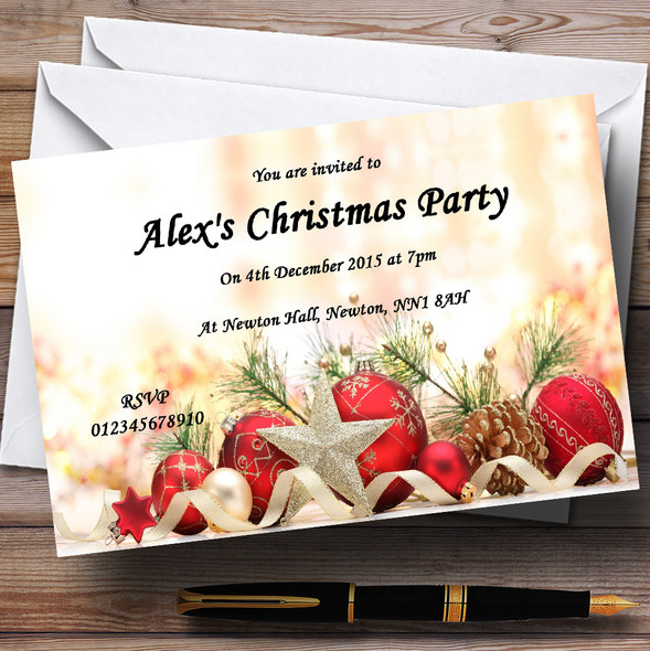 Red Baubles And Pine Cones Personalised Christmas Party Invitations