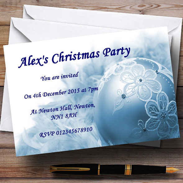 Blue Lace Bauble Personalised Christmas Party Invitations
