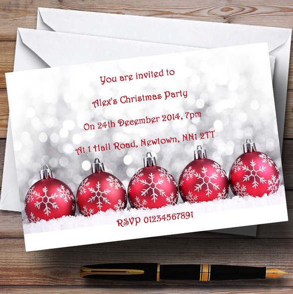Red Baubles Personalised Christmas Party Invitations