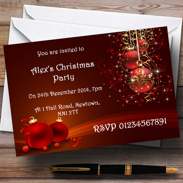 Red Decs Personalised Christmas Party Invitations