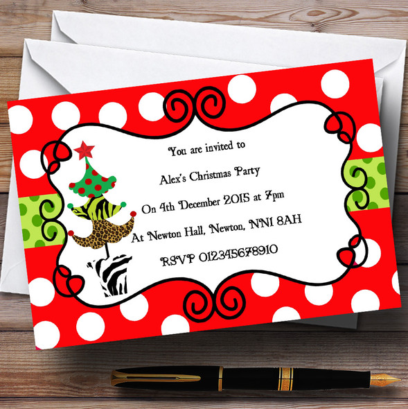 Red Dotty Personalised Christmas Party Invitations