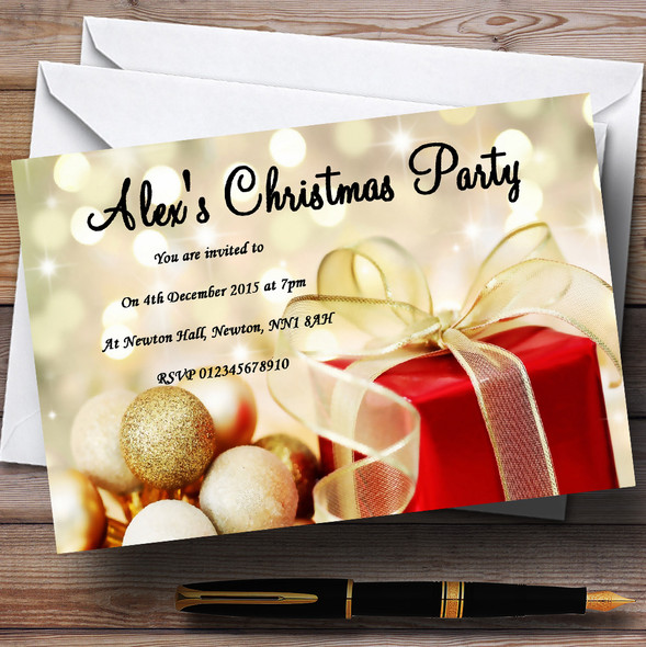 Red Present Personalised Christmas Party Invitations
