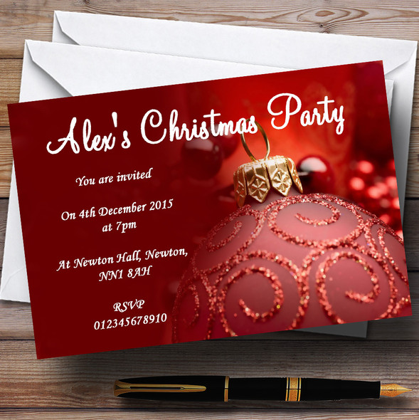 Red Personalised Christmas Party Invitations