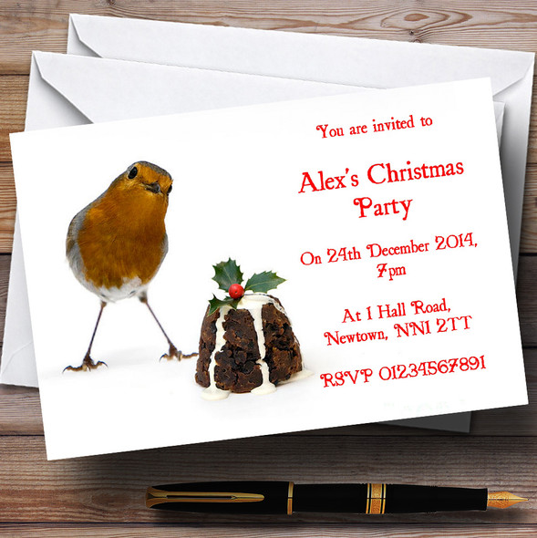Robin And Pudding Personalised Christmas Party Invitations