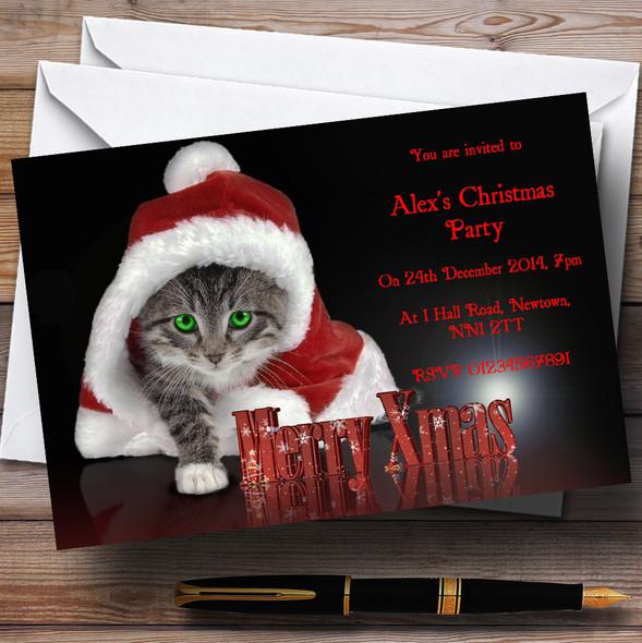 Santa Cat Personalised Christmas Party Invitations
