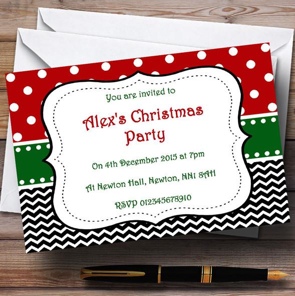 Seasonal Colours Personalised Christmas Party Invitations