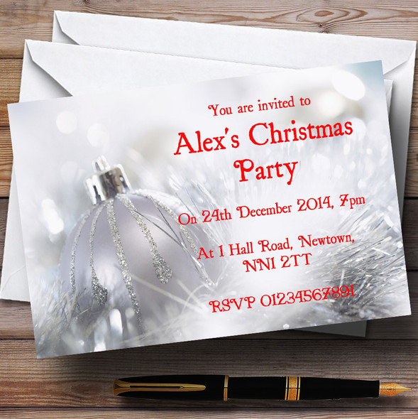 Silver Bauble Personalised Christmas Party Invitations