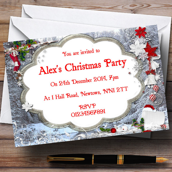 Silver Frames Personalised Christmas Party Invitations