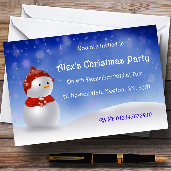 Blue Snowman Personalised Christmas Party Invitations