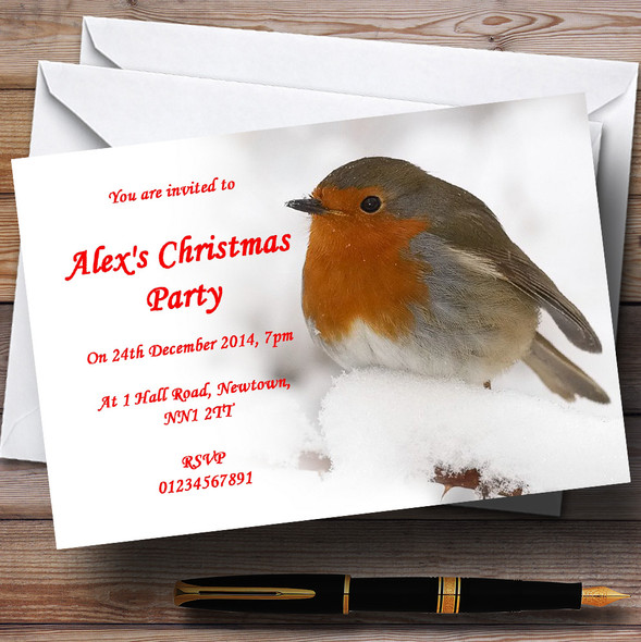 Stunning Robin Personalised Christmas Party Invitations