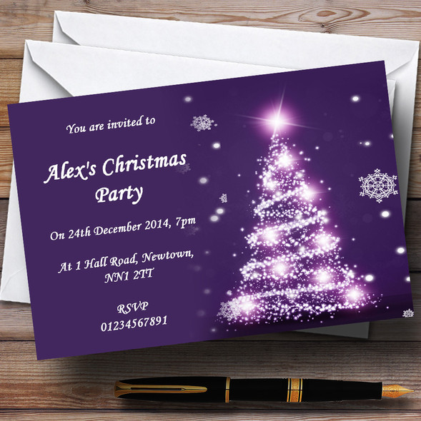 Pretty Purple Personalised Christmas Party Invitations
