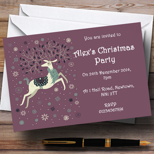 Xmas Reindeer Personalised Christmas Party Invitations