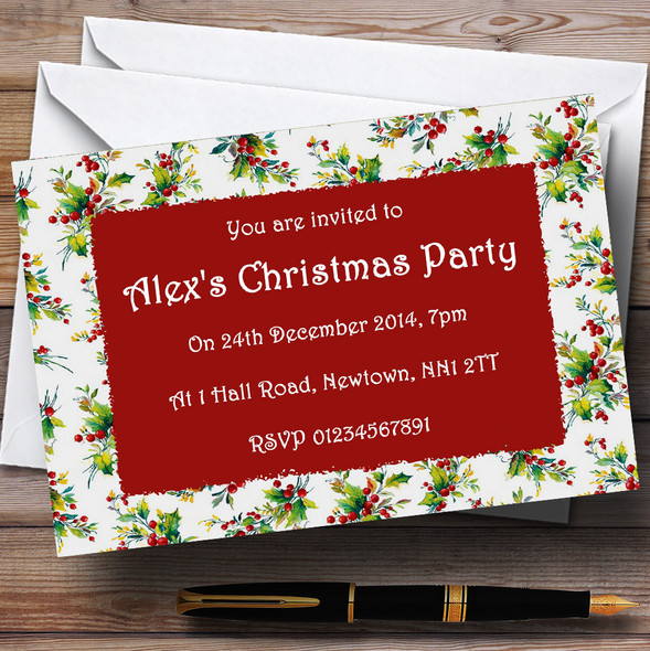 Vintage Holly Personalised Christmas Party Invitations