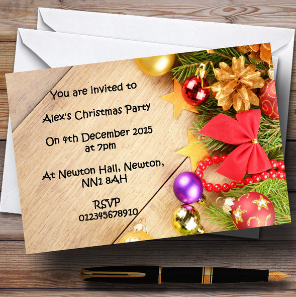 Xmas Decorations Personalised Christmas Party Invitations