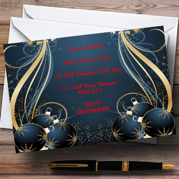 Blue Personalised Christmas Party Invitations