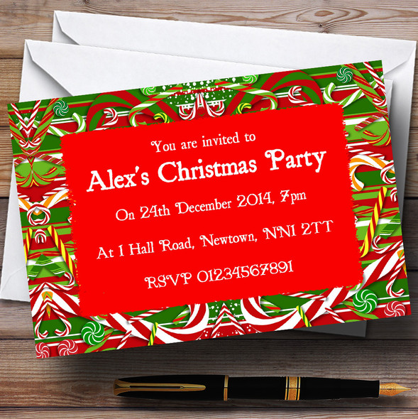 Candy Cane Personalised Christmas Party Invitations