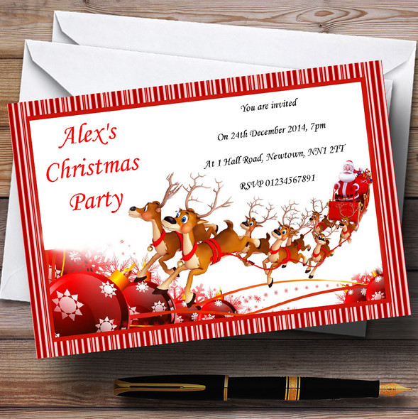 Candy Stripe Santa Sleigh Personalised Christmas Party Invitations