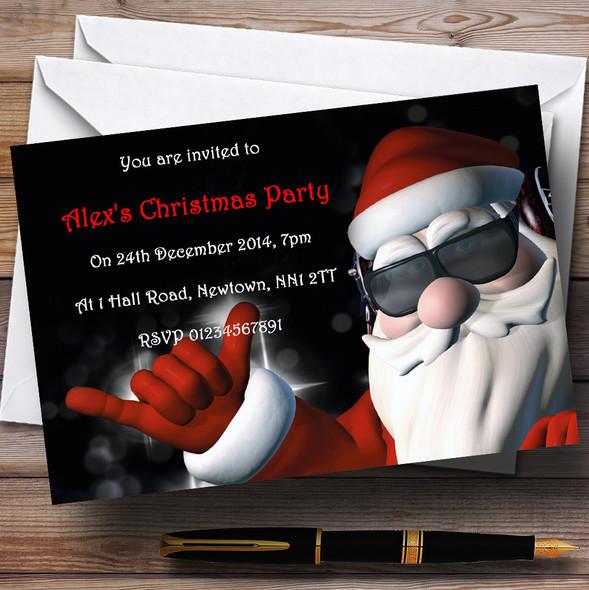 Cool Santa Personalised Christmas Party Invitations