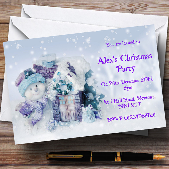 Cute Snowman And Flakes Personalised Christmas Party Invitations