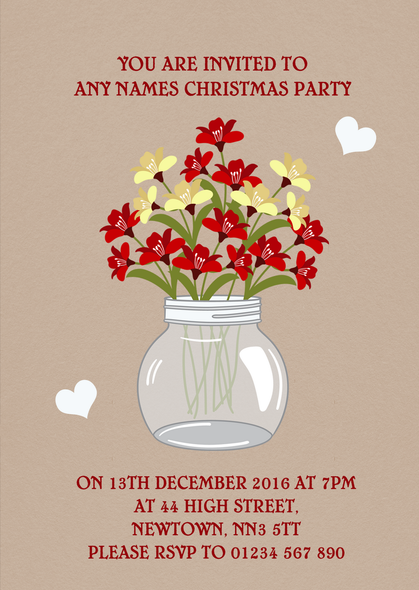 Floral Mason Jar Personalised Christmas Party Invitations