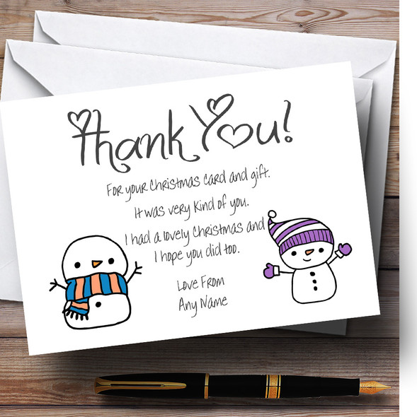 Doodle Snowman Personalised Christmas Thank You Cards