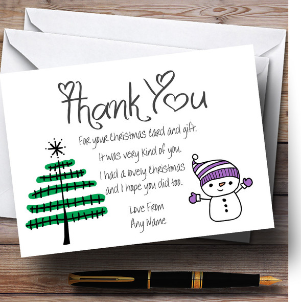 Doodle Xmas Tree Personalised Christmas Thank You Cards