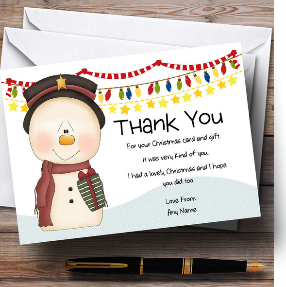 Snowman & Decorations Personalised Christmas Thank You Cards