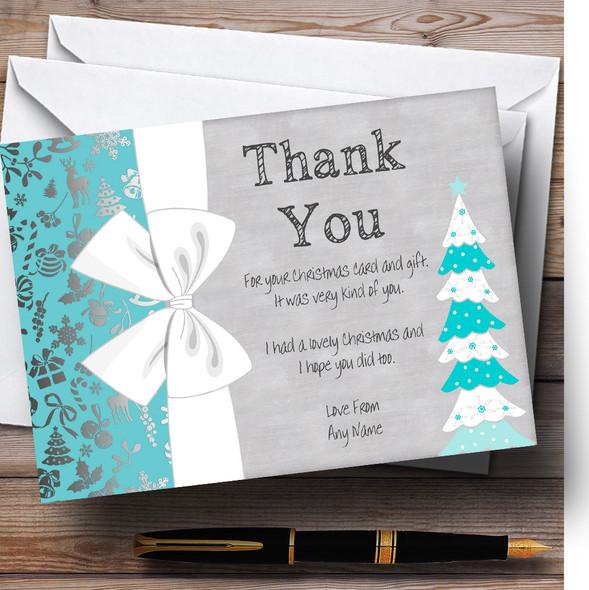 Turquoise Xmas Tree Personalised Christmas Thank You Cards