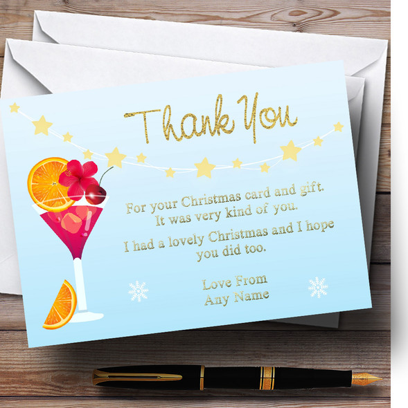 Xmas Cocktail Personalised Christmas Thank You Cards