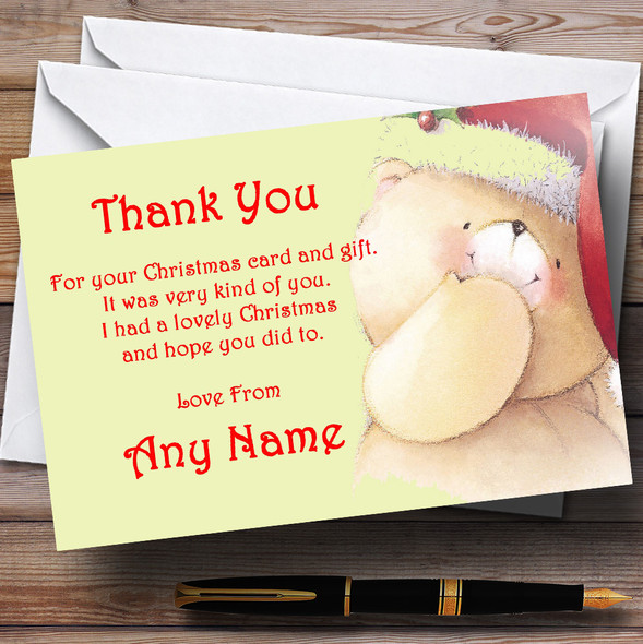 Adorable Bear Personalised Christmas Party Thank You Cards