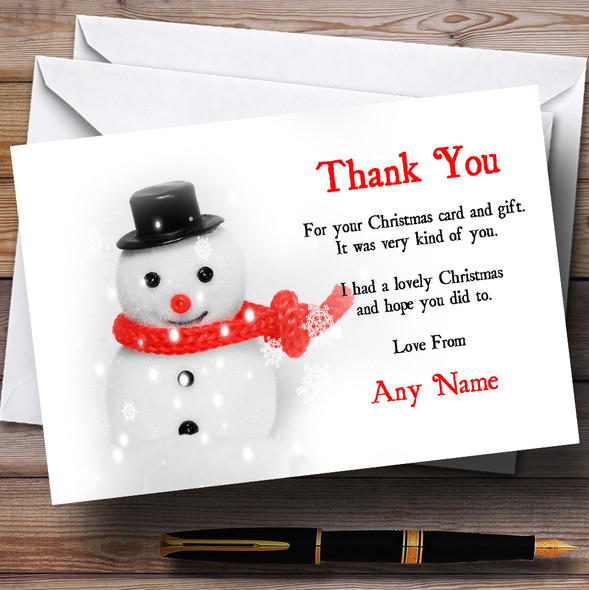 Cute Snowman Personalised Christmas Party Thank You Cards