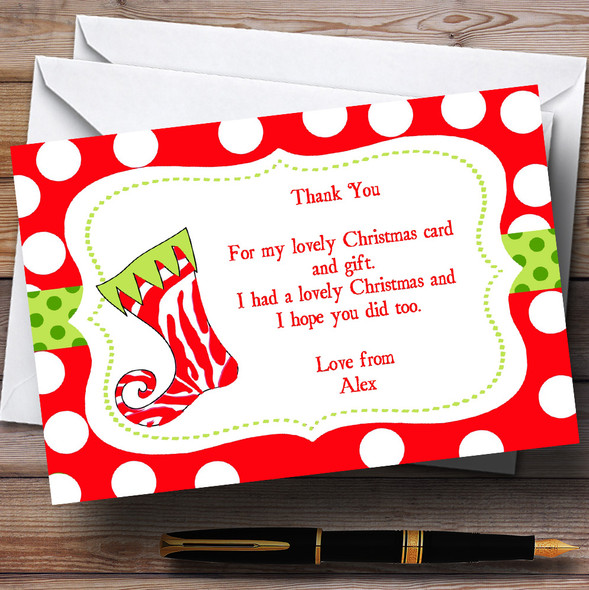Funky Stocking Personalised Christmas Party Thank You Cards