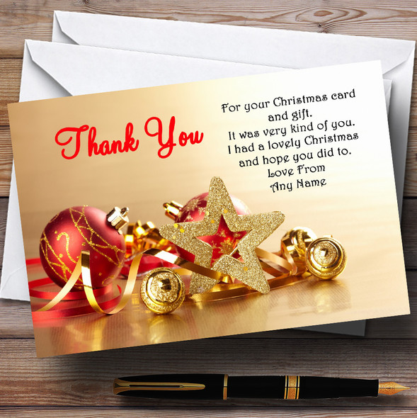 Gold And Red Baubles Personalised Christmas Party Thank You Cards
