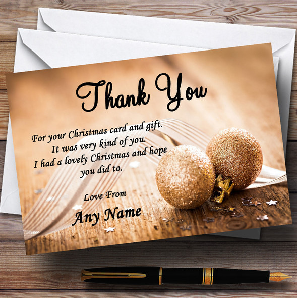 Gold Glitter Ball Personalised Christmas Party Thank You Cards