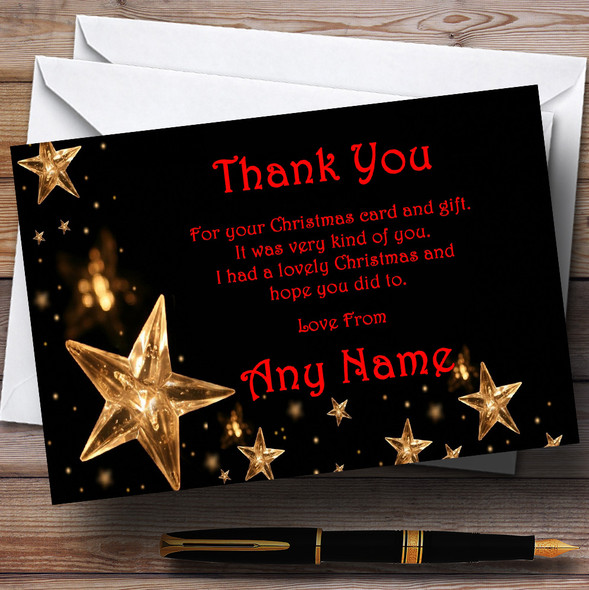 Gold Stars Red Personalised Christmas Party Thank You Cards