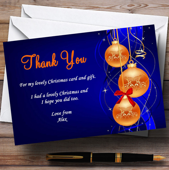 Blue And Orange Personalised Christmas Party Thank You Cards